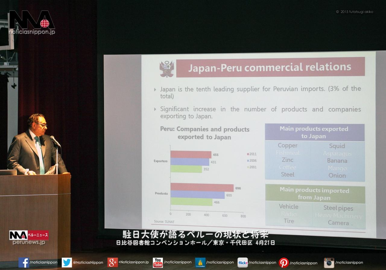 日比谷図書館ホールで講演会「駐日大使が語るペルーの現状と将来」